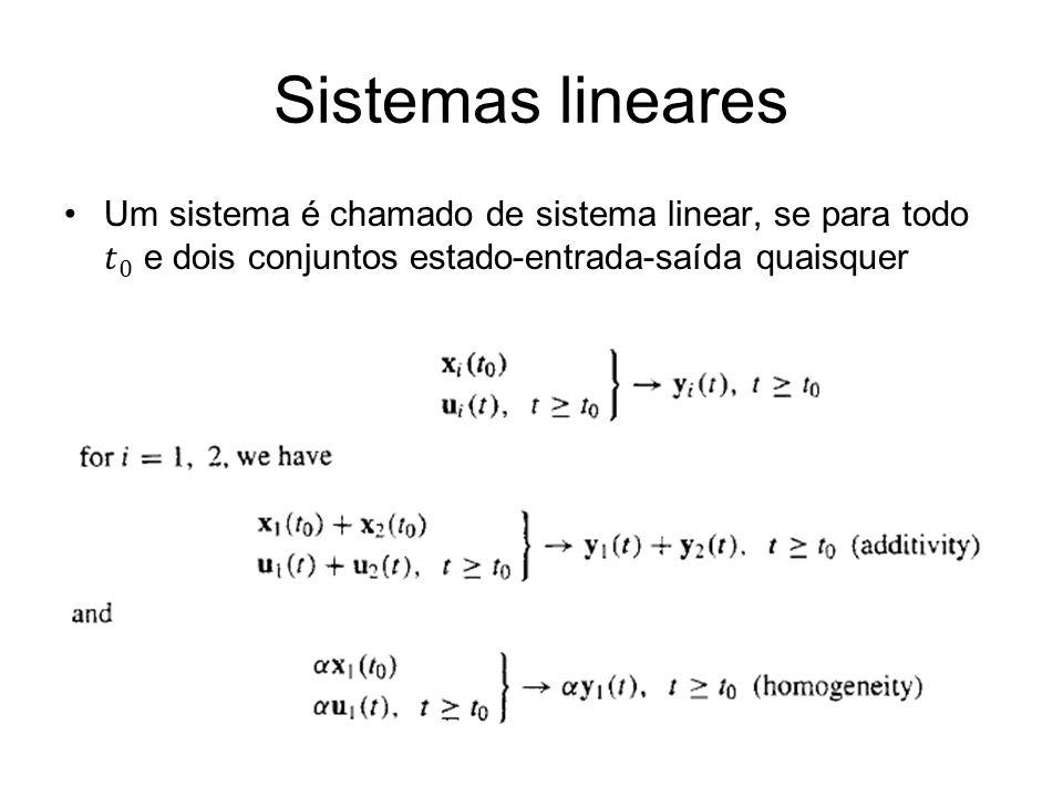 Sistemas lineares Um sistema é chamado de sistema linear, se para todo 𝑡 0 e dois conjuntos estado-entrada-saída quaisquer.