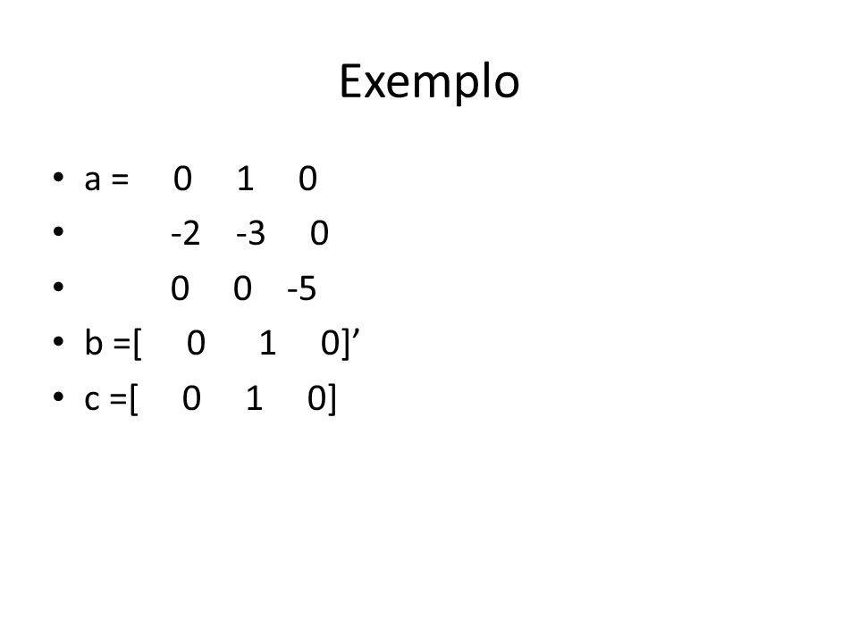 Exemplo a = 0 1 0. -2 -3 0. 0 0 -5.