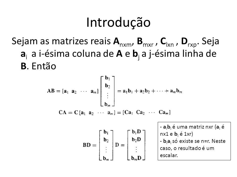 Introdução Sejam as matrizes reais Anxm, Bmxr , Clxn , Drxp. Seja ai a i-ésima coluna de A e bj a j-ésima linha de B. Então.