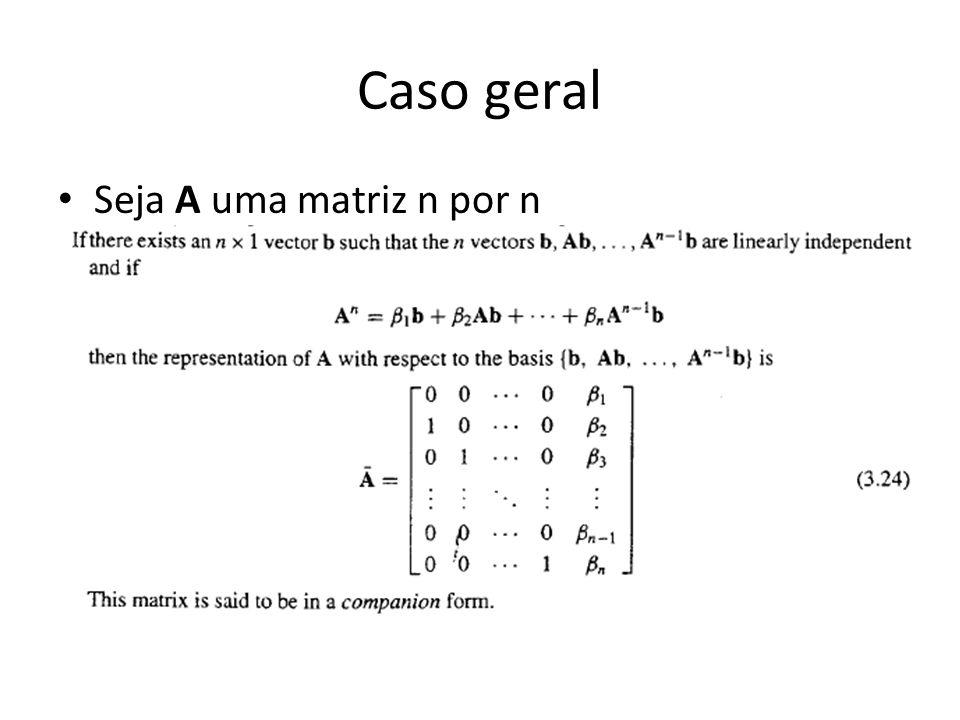 Caso geral Seja A uma matriz n por n