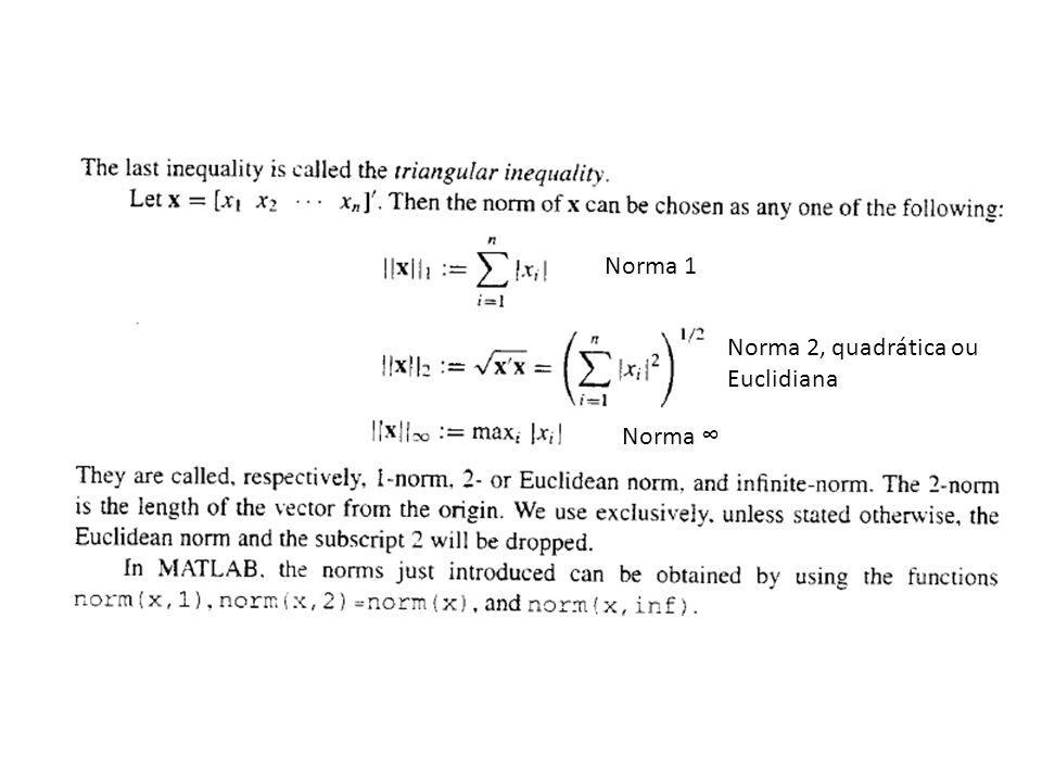 Norma 1 Norma 2, quadrática ou Euclidiana Norma ∞