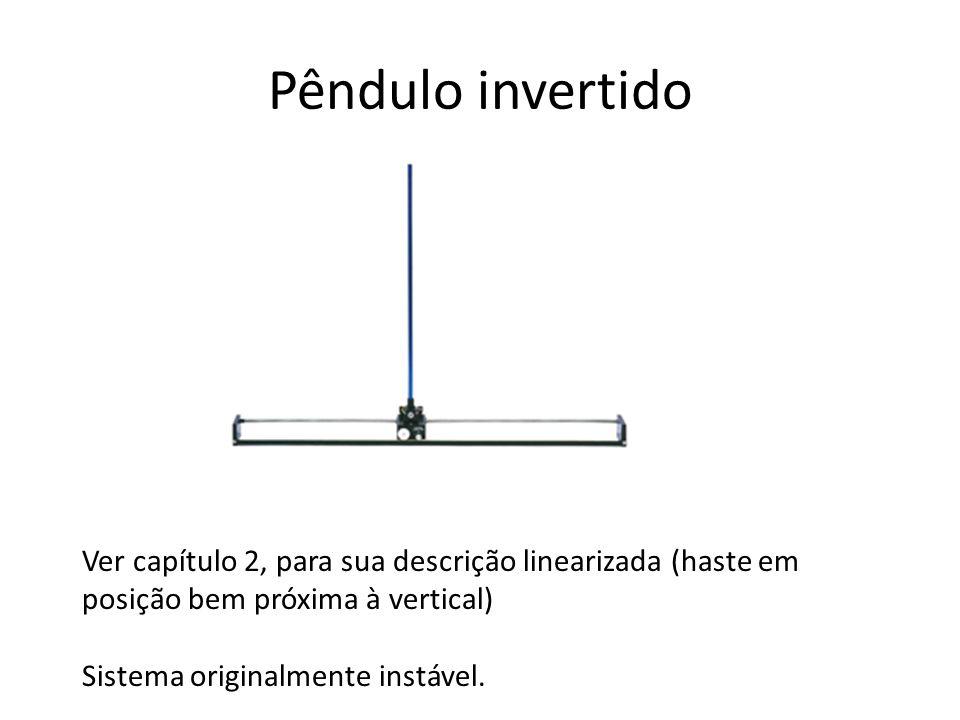 Pêndulo invertido Ver capítulo 2, para sua descrição linearizada (haste em posição bem próxima à vertical)