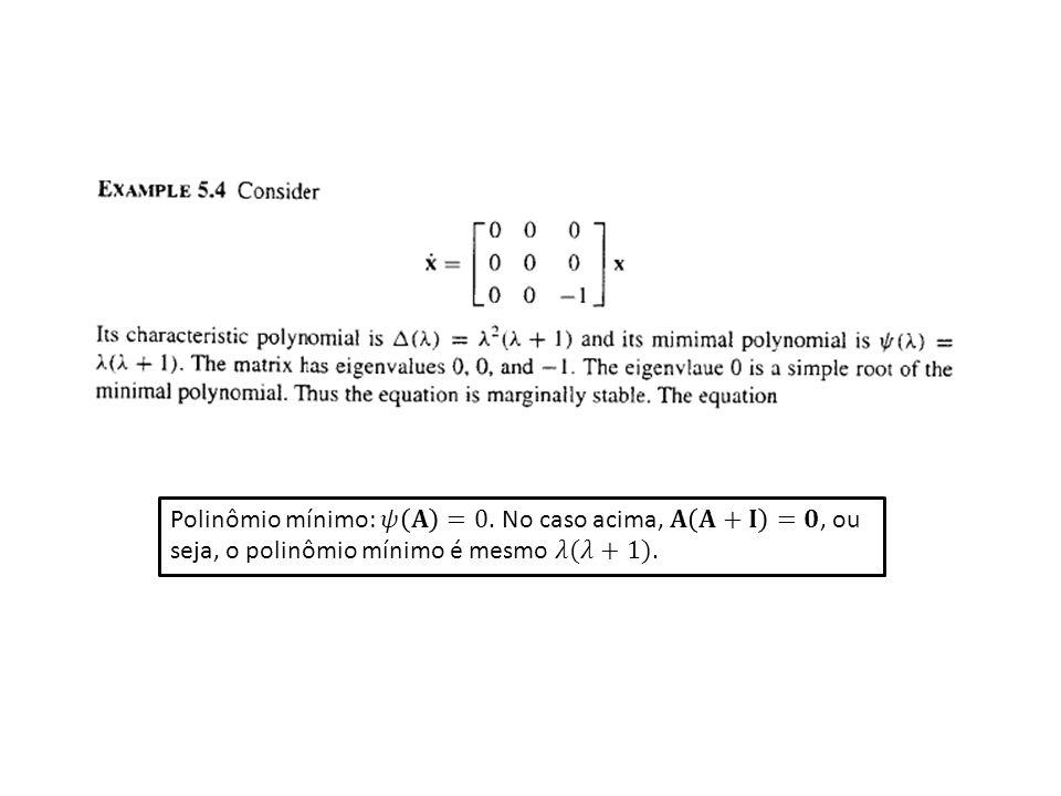 Polinômio mínimo: 𝜓 𝐀 =0. No caso acima, 𝐀 𝐀+𝐈 =𝟎, ou seja, o polinômio mínimo é mesmo 𝜆(𝜆+1).