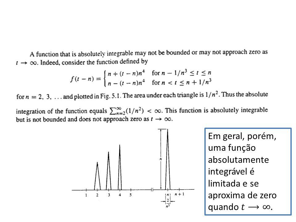 Em geral, porém, uma função absolutamente integrável é limitada e se aproxima de zero quando 𝑡⟶∞.