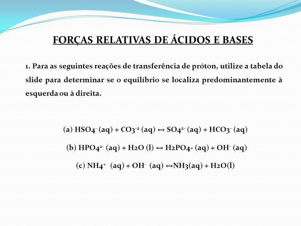 FORÇAS RELATIVAS DE ÁCIDOS E BASES
