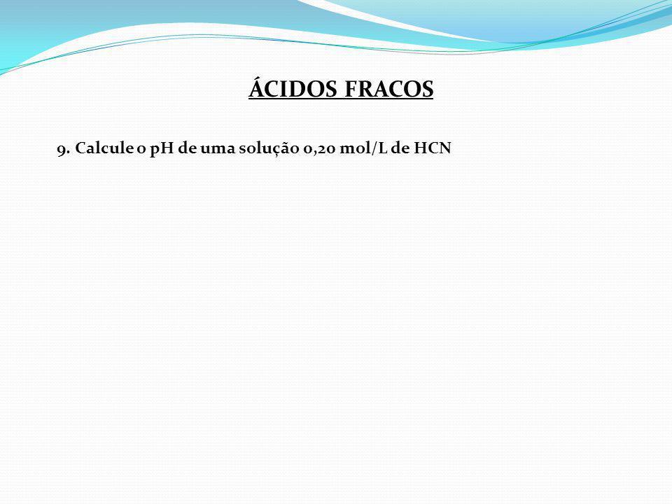 ÁCIDOS FRACOS 9. Calcule o pH de uma solução 0,20 mol/L de HCN