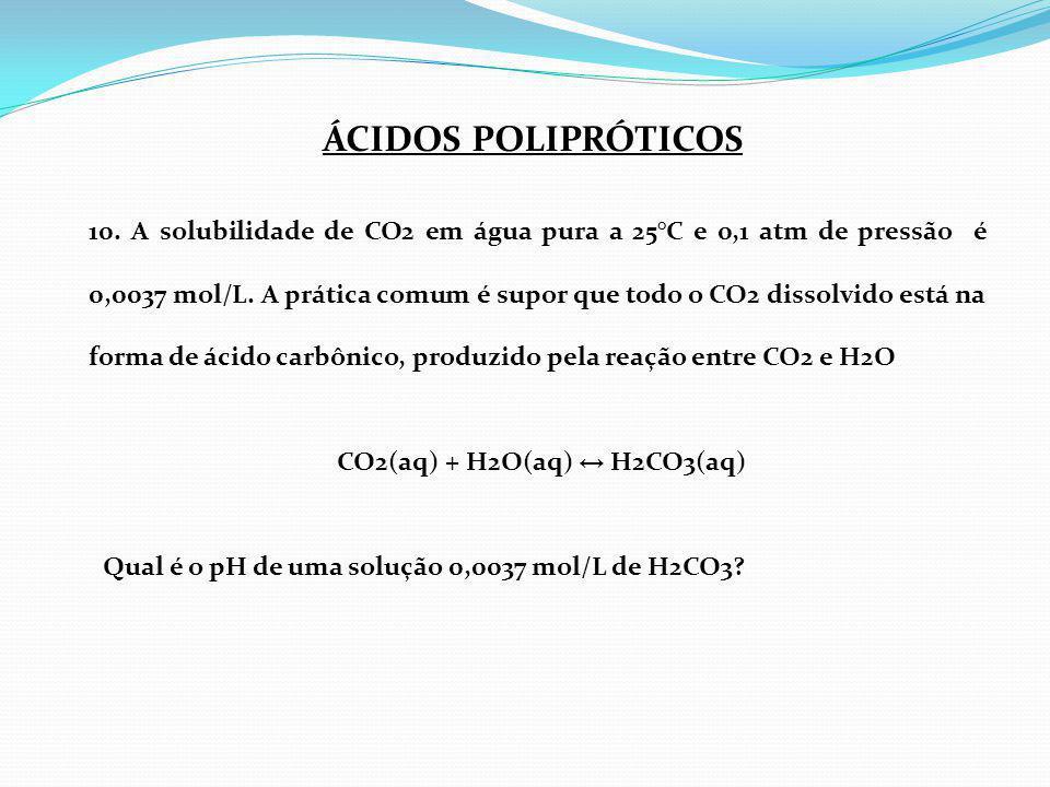 CO2(aq) + H2O(aq) ↔ H2CO3(aq)