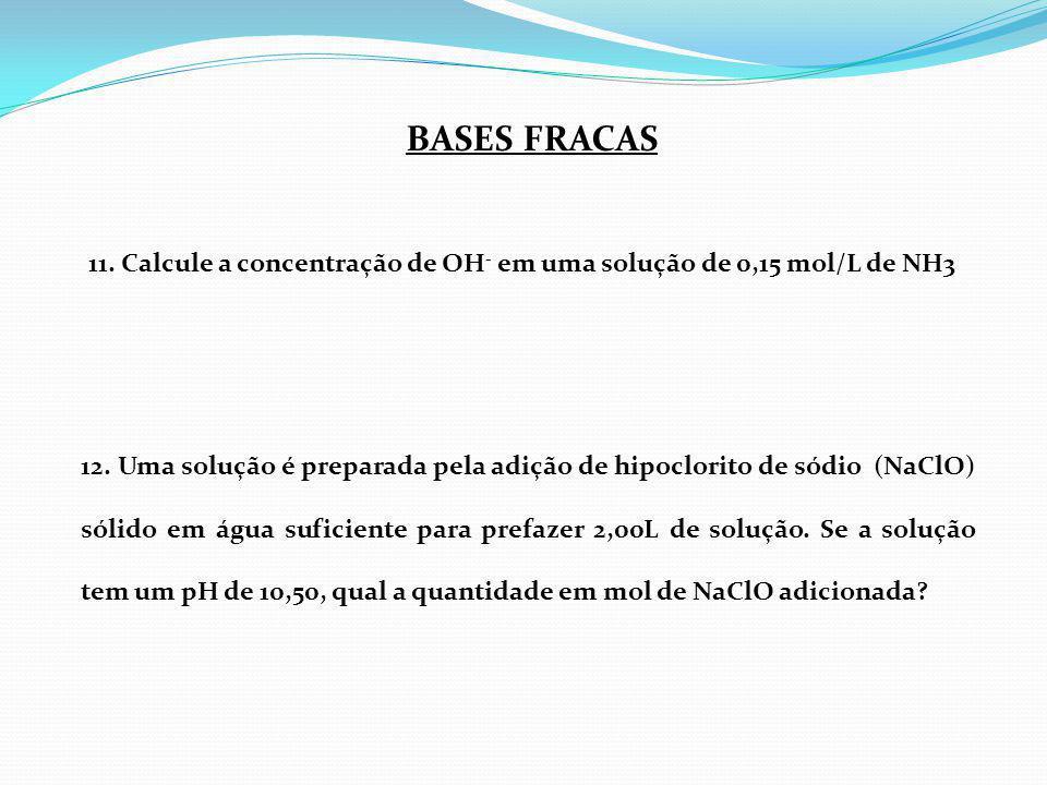 BASES FRACAS 11. Calcule a concentração de OH- em uma solução de 0,15 mol/L de NH3.