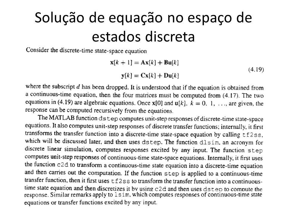 Solução de equação no espaço de estados discreta