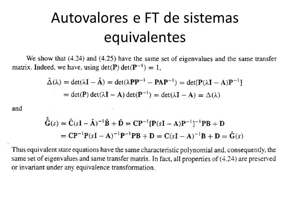 Autovalores e FT de sistemas equivalentes