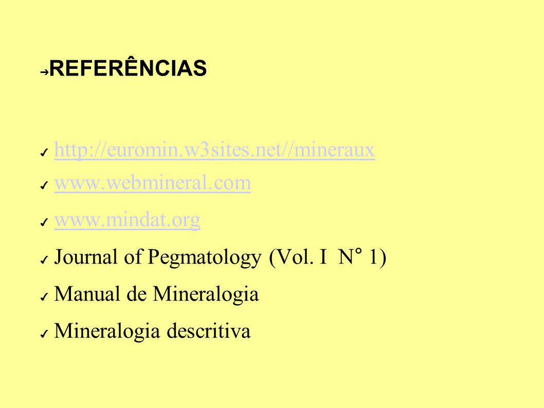 REFERÊNCIAS http://euromin.w3sites.net//mineraux. www.webmineral.com. www.mindat.org. Journal of Pegmatology (Vol. I N° 1)