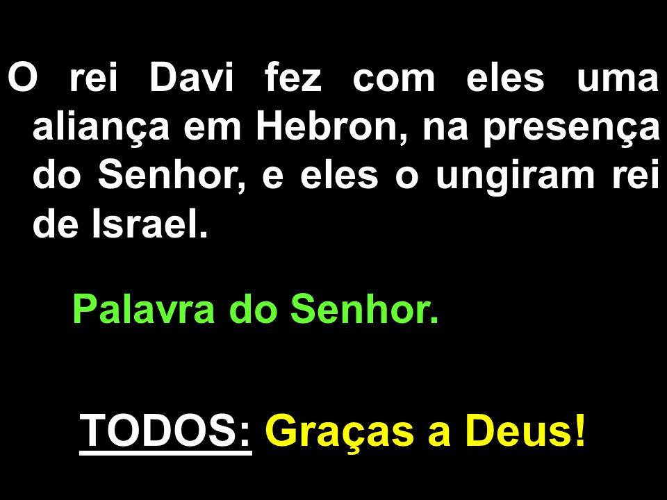 O rei Davi fez com eles uma aliança em Hebron, na presença do Senhor, e eles o ungiram rei de Israel.