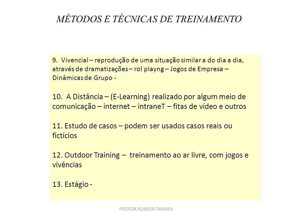 MÉTODOS E TÉCNICAS DE TREINAMENTO