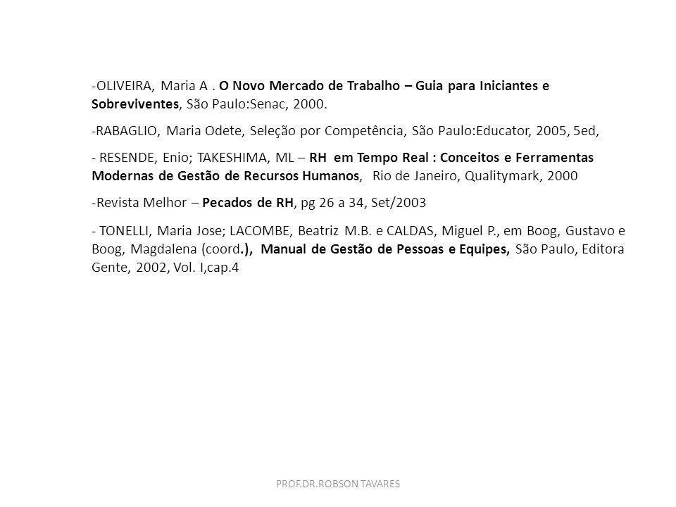 OLIVEIRA, Maria A . O Novo Mercado de Trabalho – Guia para Iniciantes e Sobreviventes, São Paulo:Senac, 2000.