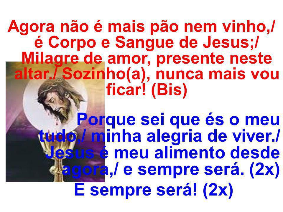 Agora não é mais pão nem vinho,/ é Corpo e Sangue de Jesus;/ Milagre de amor, presente neste altar./ Sozinho(a), nunca mais vou ficar! (Bis)