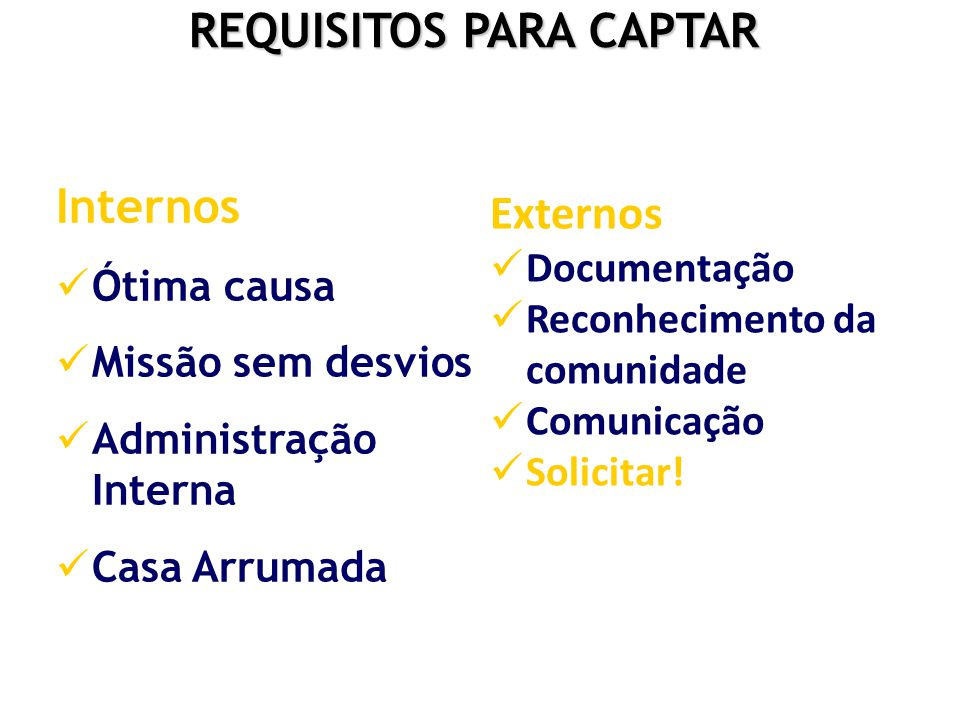 REQUISITOS PARA CAPTAR