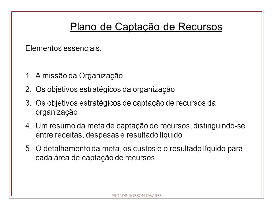 Plano de Captação de Recursos