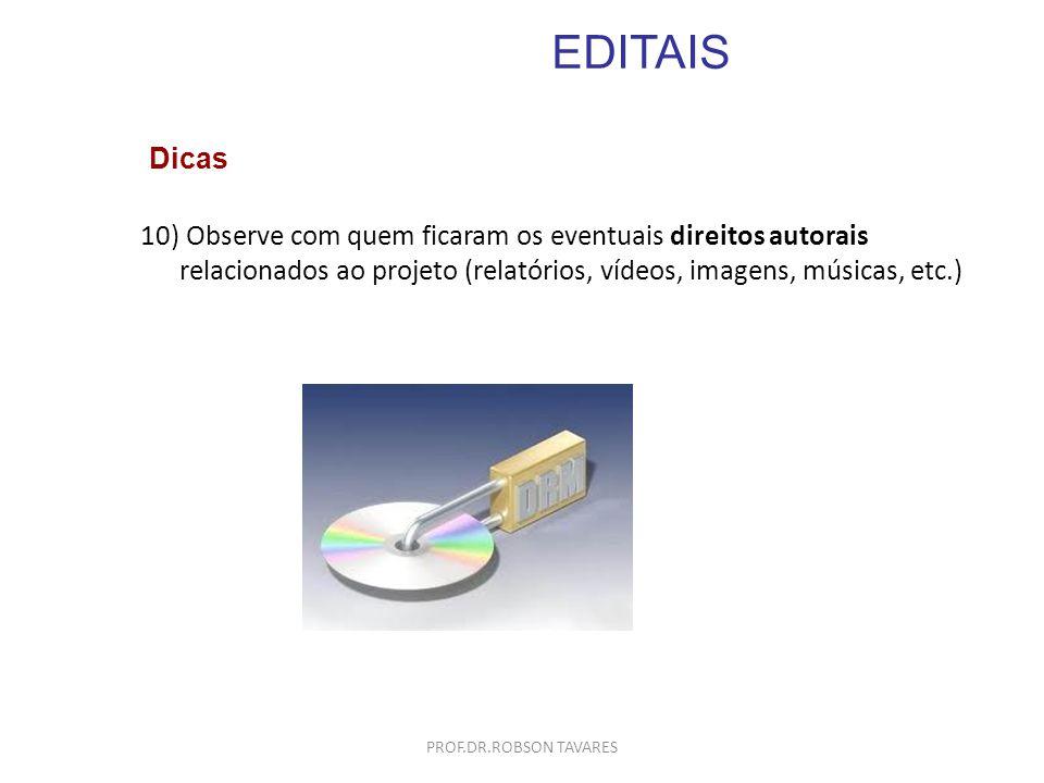 EDITAIS Dicas. Observe com quem ficaram os eventuais direitos autorais relacionados ao projeto (relatórios, vídeos, imagens, músicas, etc.)