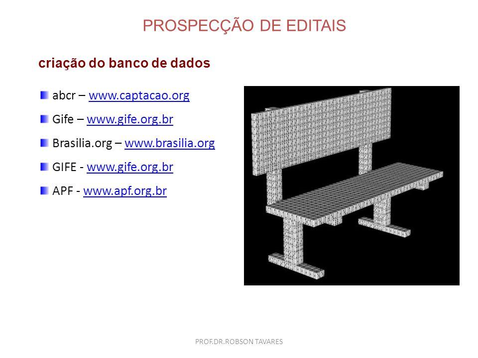 PROSPECÇÃO DE EDITAIS criação do banco de dados