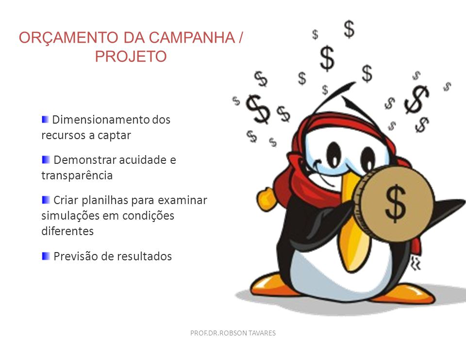 ORÇAMENTO DA CAMPANHA / PROJETO