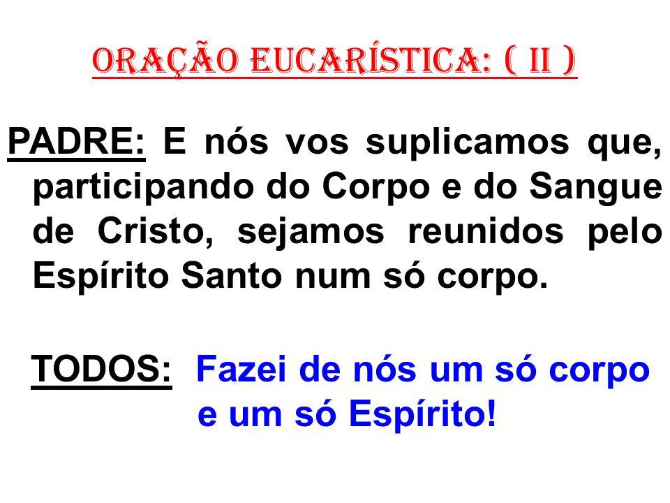 ORAÇÃO EUCARÍSTICA: ( II ) PADRE: E nós vos suplicamos que, participando do Corpo e do Sangue de Cristo, sejamos reunidos pelo Espírito Santo num só corpo.