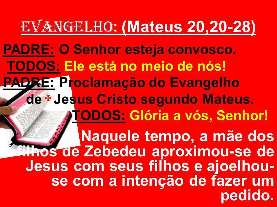 EVANGELHO: (Mateus 20,20-28) PADRE: O Senhor esteja convosco. TODOS: Ele está no meio de nós! PADRE: Proclamação do Evangelho.