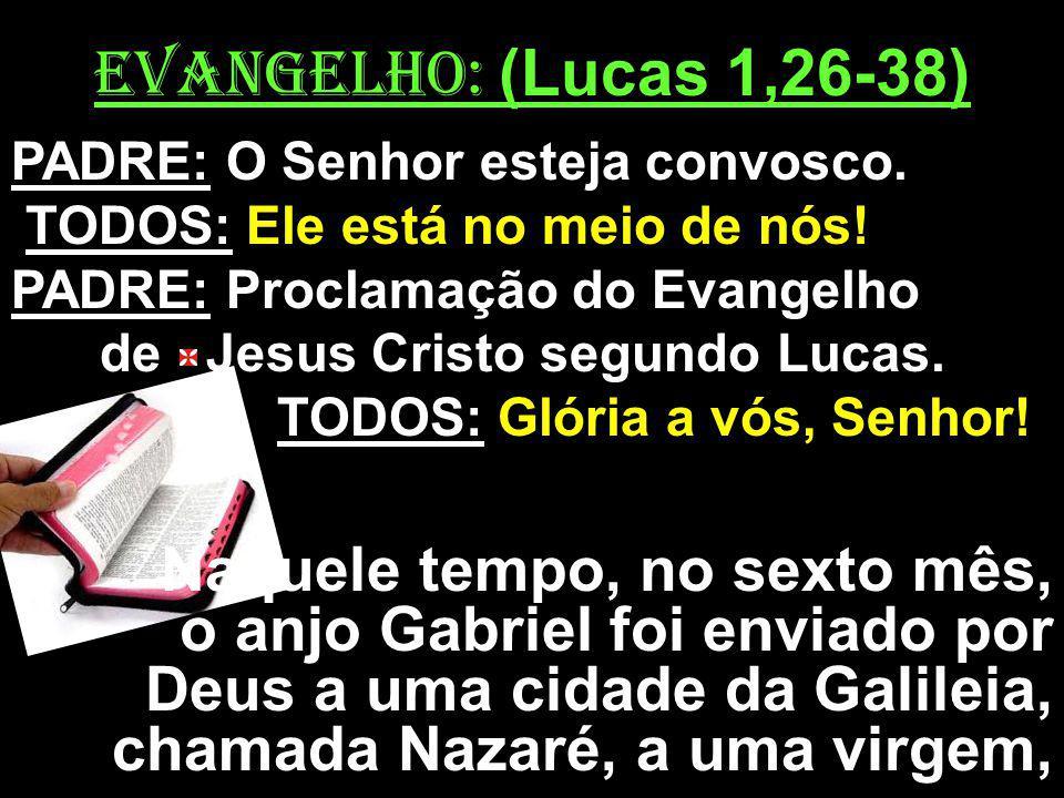 EVANGELHO: (Lucas 1,26-38) PADRE: O Senhor esteja convosco. TODOS: Ele está no meio de nós! PADRE: Proclamação do Evangelho.