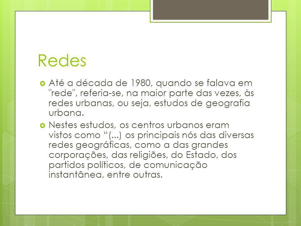 Redes Até a década de 1980, quando se falava em rede , referia-se, na maior parte das vezes, às redes urbanas, ou seja, estudos de geografia urbana.