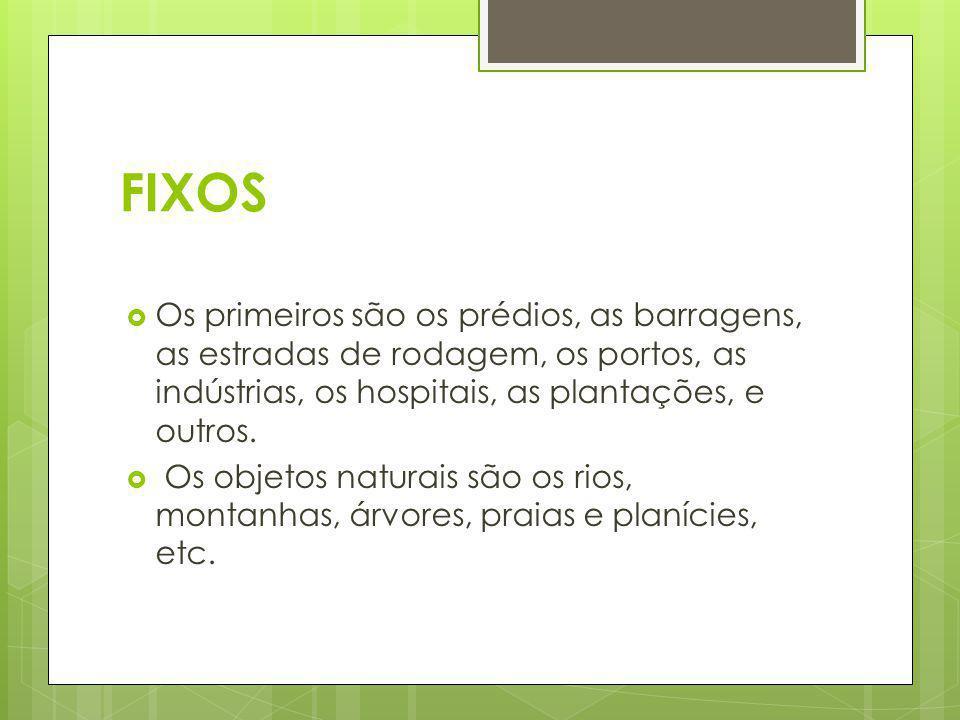 FIXOS Os primeiros são os prédios, as barragens, as estradas de rodagem, os portos, as indústrias, os hospitais, as plantações, e outros.
