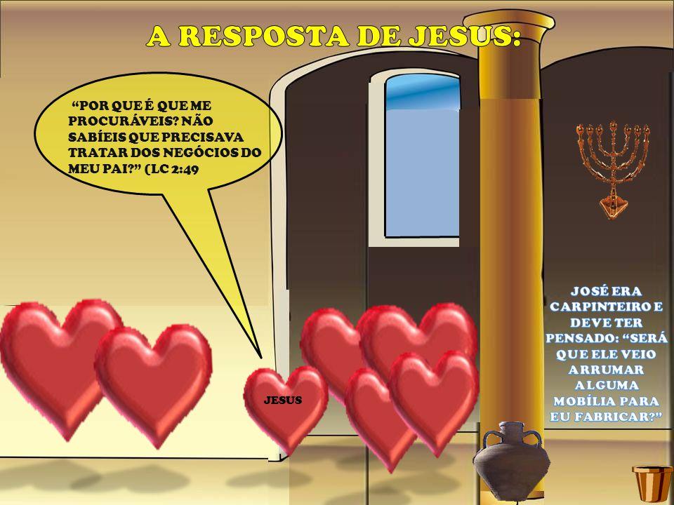 A RESPOSTA DE JESUS: POR QUE É QUE ME PROCURÁVEIS NÃO SABÍEIS QUE PRECISAVA TRATAR DOS NEGÓCIOS DO MEU PAI (LC 2:49.