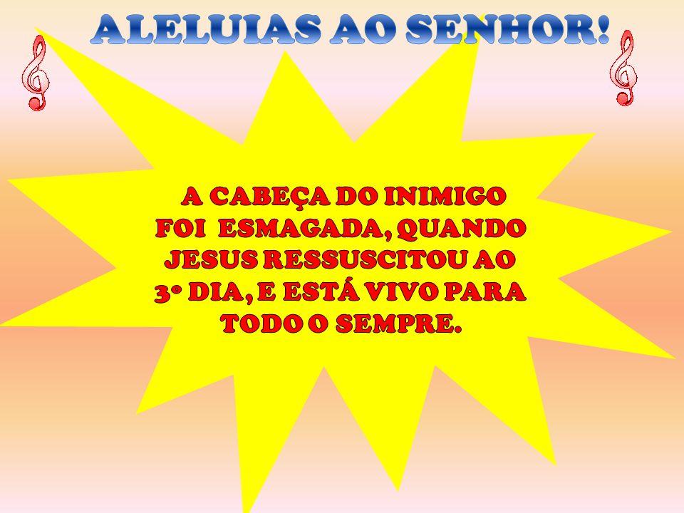 A CABEÇA DO INIMIGO FOI ESMAGADA, QUANDO JESUS RESSUSCITOU AO 3º DIA, E ESTÁ VIVO PARA TODO O SEMPRE.