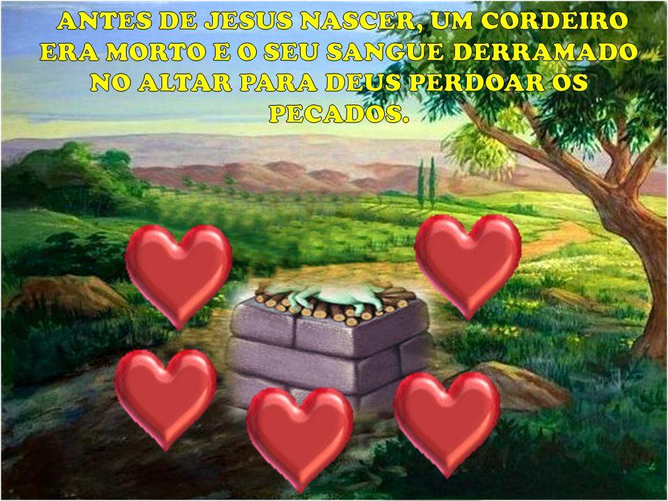 ANTES DE JESUS NASCER, UM CORDEIRO ERA MORTO E O SEU SANGUE DERRAMADO NO ALTAR PARA DEUS PERDOAR OS PECADOS.
