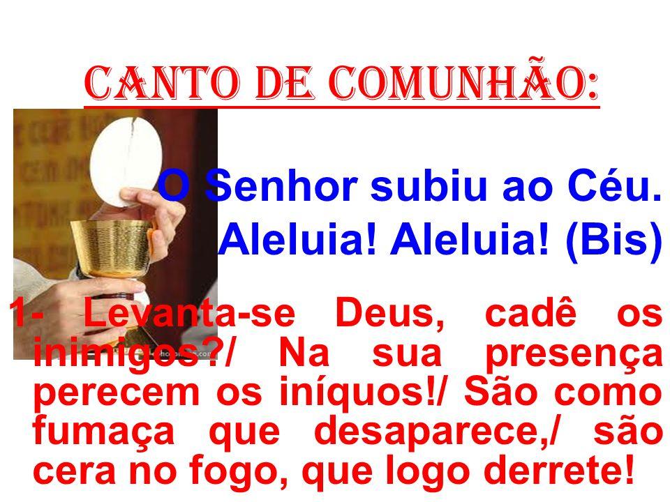 CANTO DE COMUNHÃO: O Senhor subiu ao Céu. Aleluia! Aleluia! (Bis)