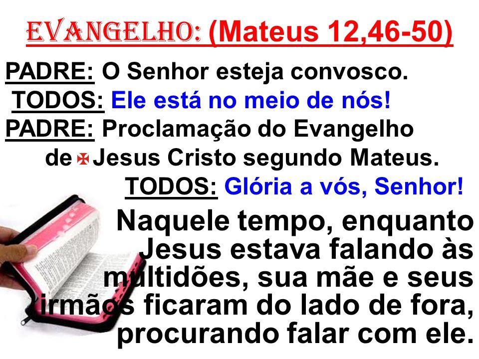 EVANGELHO: (Mateus 12,46-50) PADRE: O Senhor esteja convosco. TODOS: Ele está no meio de nós! PADRE: Proclamação do Evangelho.