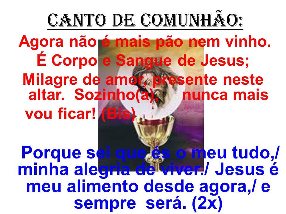 CANTO DE COMUNHÃO: Agora não é mais pão nem vinho. É Corpo e Sangue de Jesus; Milagre de amor, presente neste altar. Sozinho(a), nunca mais.