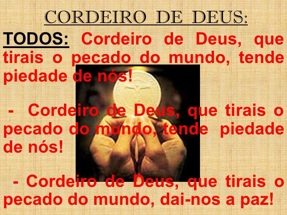 CORDEIRO DE DEUS: TODOS: Cordeiro de Deus, que tirais o pecado do mundo, tende piedade de nós!