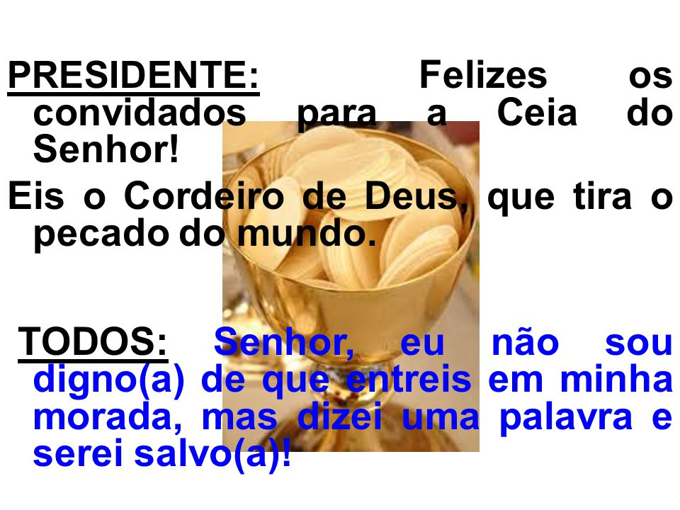 Eis o Cordeiro de Deus, que tira o pecado do mundo.