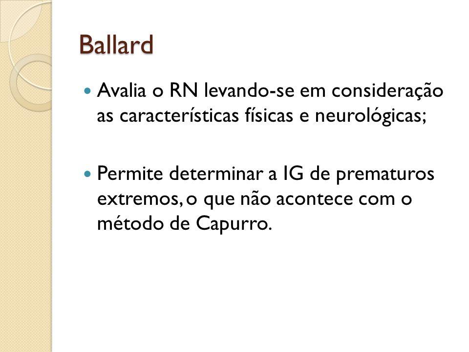 Ballard Avalia o RN levando-se em consideração as características físicas e neurológicas;