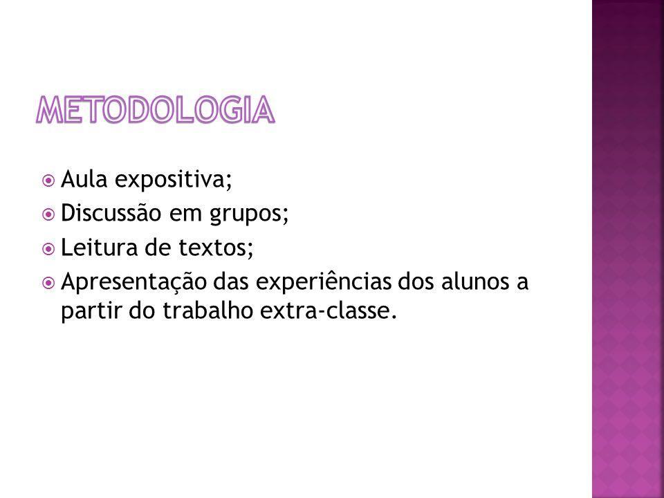 Metodologia Aula expositiva; Discussão em grupos; Leitura de textos;
