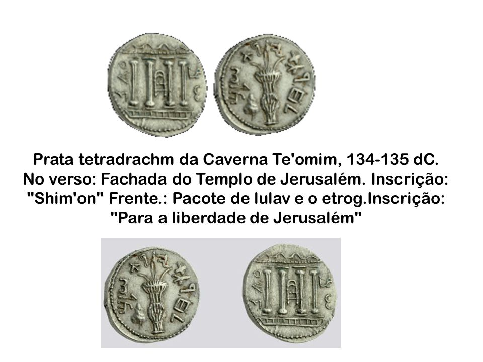 Prata tetradrachm da Caverna Te omim, 134-135 dC.