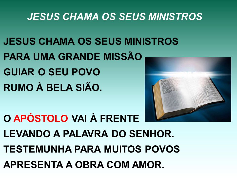JESUS CHAMA OS SEUS MINISTROS