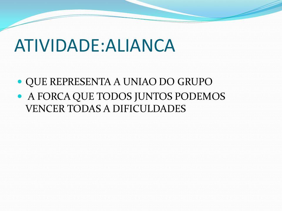 ATIVIDADE:ALIANCA QUE REPRESENTA A UNIAO DO GRUPO