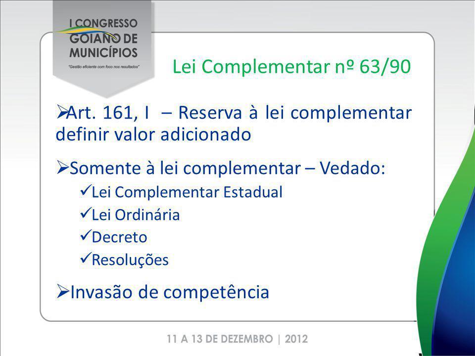 Lei Complementar nº 63/90 Art. 161, I – Reserva à lei complementar definir valor adicionado. Somente à lei complementar – Vedado: