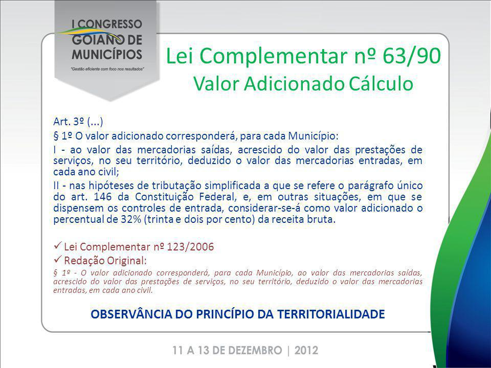 Lei Complementar nº 63/90 Valor Adicionado Cálculo