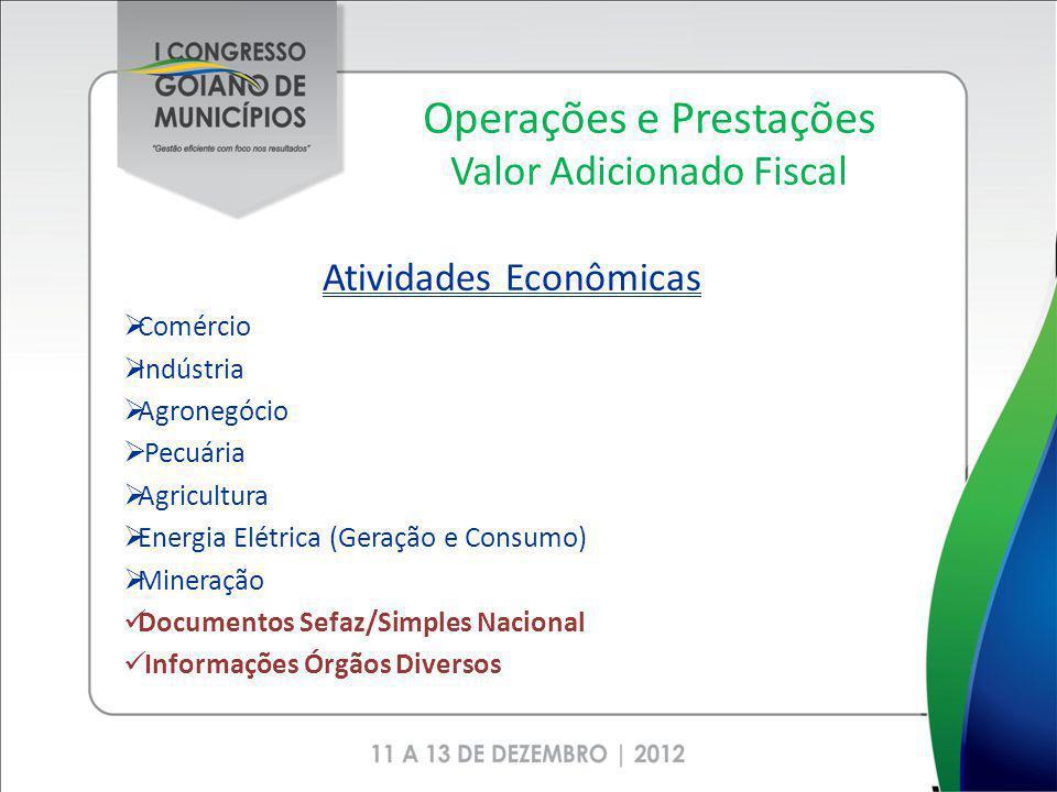 Operações e Prestações Valor Adicionado Fiscal