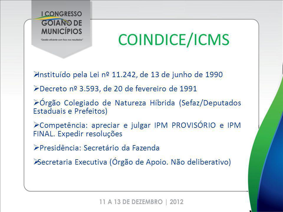 COINDICE/ICMS Instituído pela Lei nº 11.242, de 13 de junho de 1990
