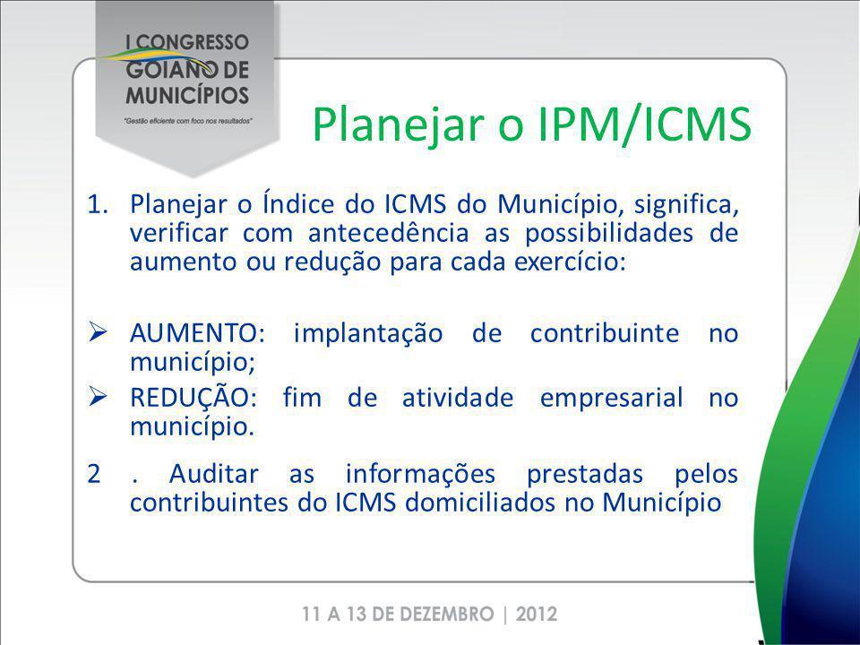 Planejar o IPM/ICMS