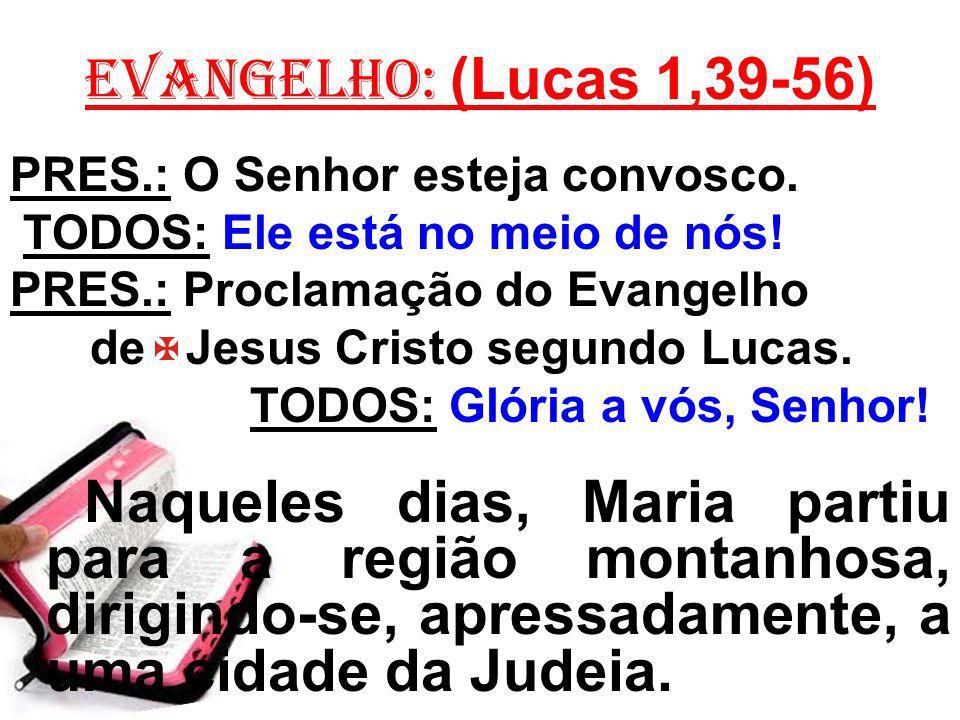EVANGELHO: (Lucas 1,39-56) PRES.: O Senhor esteja convosco. TODOS: Ele está no meio de nós! PRES.: Proclamação do Evangelho.