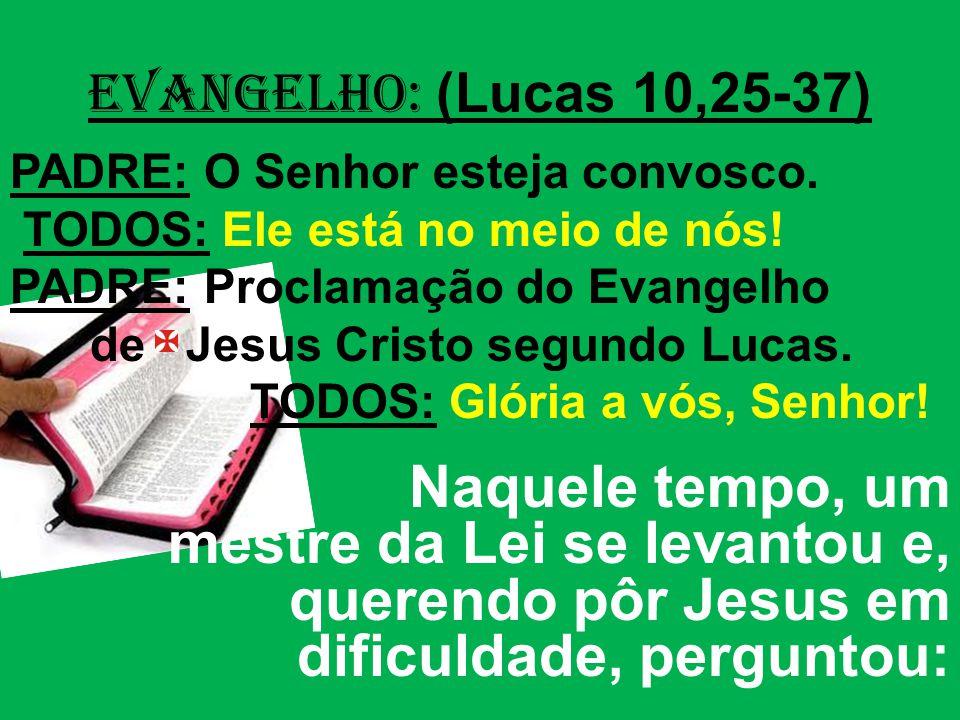 EVANGELHO: (Lucas 10,25-37) PADRE: O Senhor esteja convosco. TODOS: Ele está no meio de nós! PADRE: Proclamação do Evangelho.