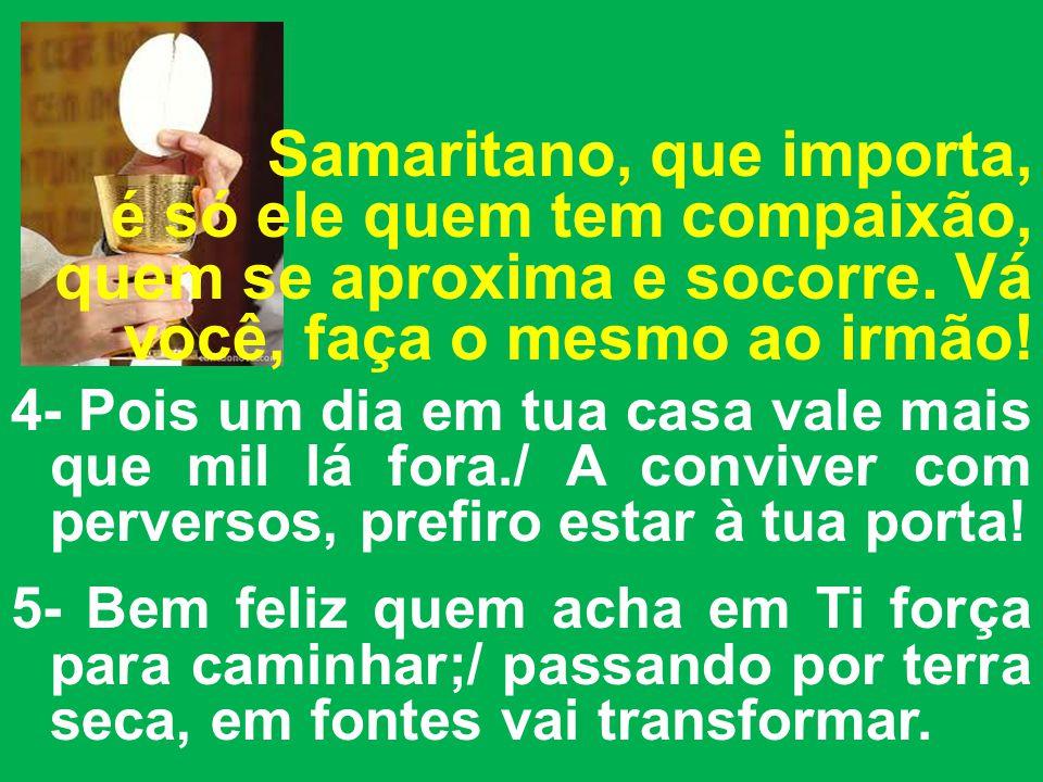 Samaritano, que importa, é só ele quem tem compaixão, quem se aproxima e socorre. Vá você, faça o mesmo ao irmão!